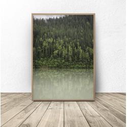 """Zestaw 2 plakatów """"Zielony las nad jeziorem"""""""