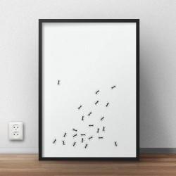 Oryginalny plakat z grafiką imitującą chodzące po nim mrówki