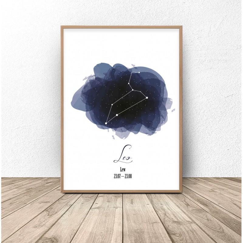 Plakat z gwiazdozbiorem Lwa