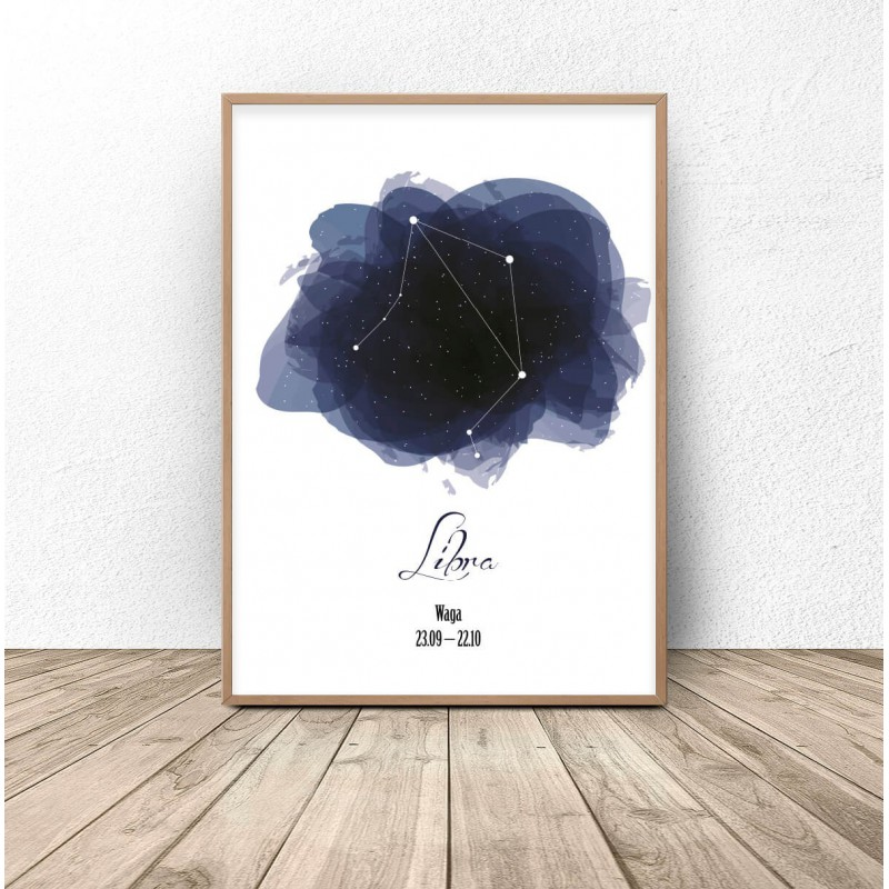 Poster with the constellation Scales