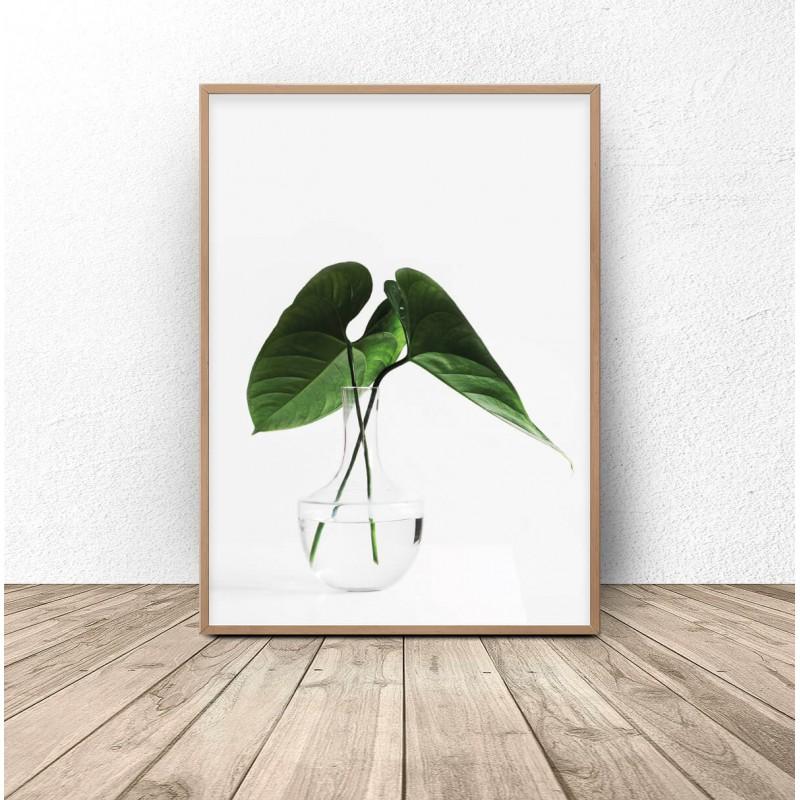 Botanical poster Leaves in a vase