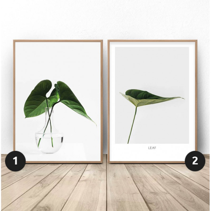 Set of two posters with leaves