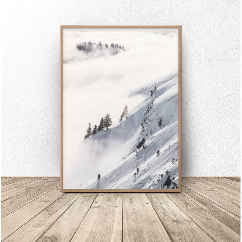 Plakat  Las otulony śniegiem