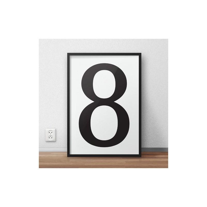 Minimalistyczny plakat typograficzny z cyfrą osiem