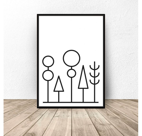 Plakat abstrakcyjny las Forest