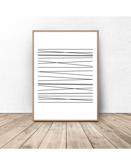 Plakat abstrakcyjny z kreskami