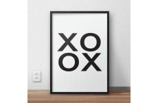 Minimalistyczny plakat typograficzny z pozdrowieniem XOXO