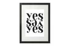 Plakat na ścianę z napisem yes w stylu skandynawskim