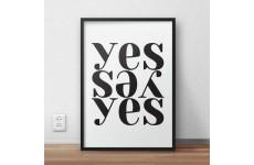 Plakat typograficzny z kompozycją słowa yes