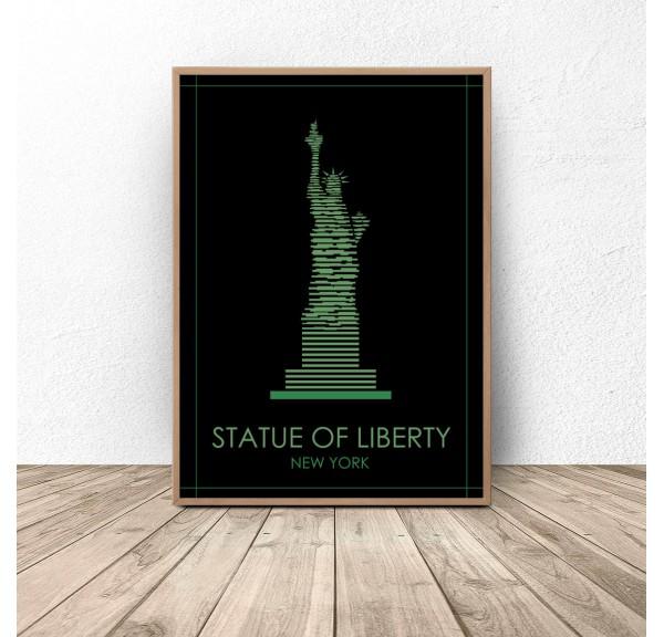 Kolorowy plakat Nowego Jorku Statua Wolności
