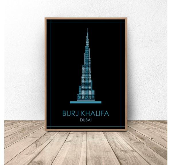 Dubai's colorful poster Burj Khalifa