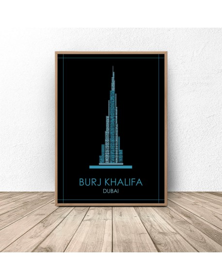 "Kolorowy plakat Dubaju ""Burj Khalifa"""