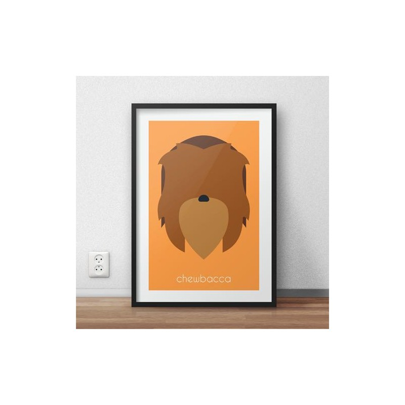 Kolorowy plakat z wizerunkiem Chewbacca z serii plakatów Gwiezdne Wojny