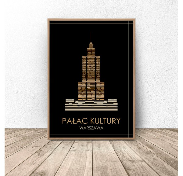 Colorful poster of Warsaw Palace of Culture