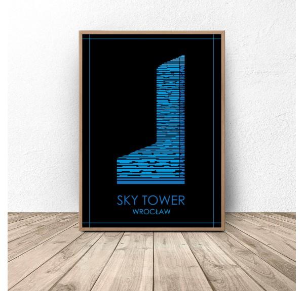 Kolorowy plakat Wrocławia Sky Tower