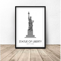 """Czarno-biały plakat Nowego Jorku """"Statua Wolności"""""""