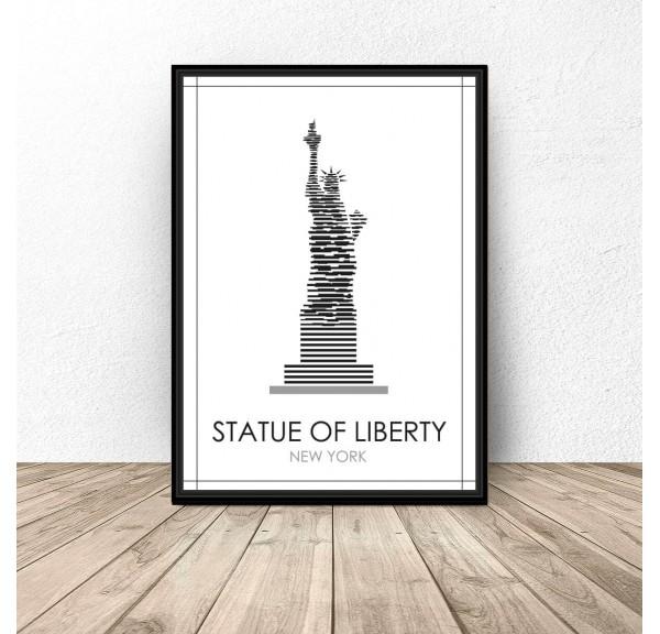 Czarno-biały plakat Nowego Jorku Statua Wolności