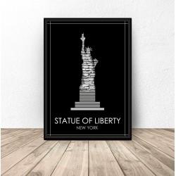 """Czarny plakat Nowego Jorku """"Statua Wolności"""""""