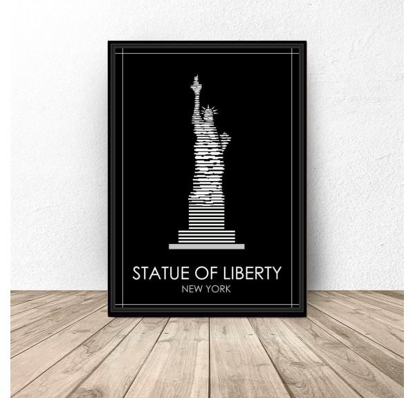 Black New York Poster Statue of Liberty