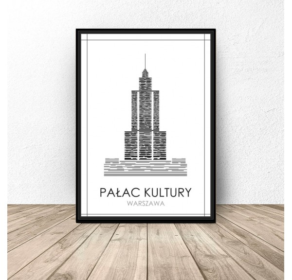 Black and white poster of Warsaw Palace of Culture