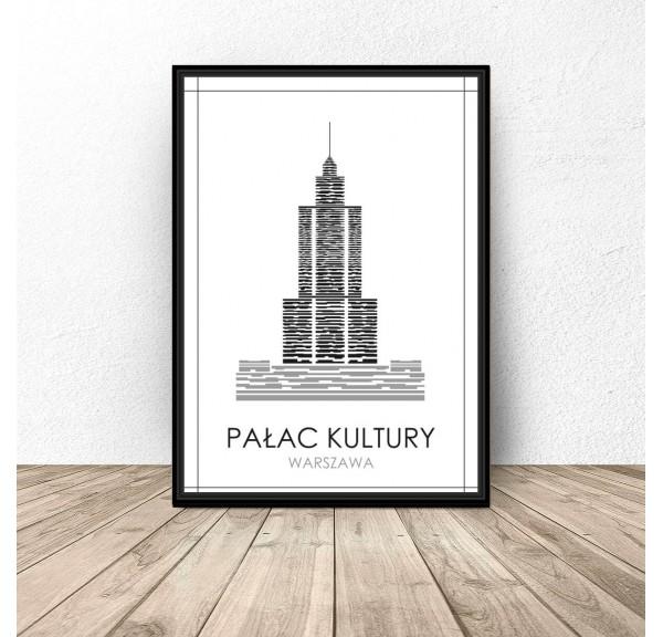 Czarno Biały Plakat Warszawy Pałac Kultury