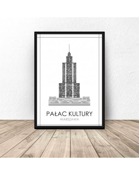 """Czarno-biały plakat Warszawy """"Pałac Kultury"""""""