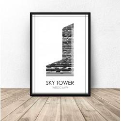 """Czarno-biały plakat Wrocławia """"Sky Tower"""""""