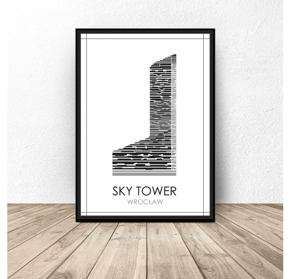 Black and white poster of Wroclaw Sky Tower