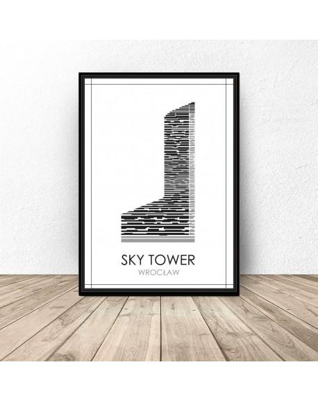 Czarno Biały Plakat Wrocławia Sky Tower