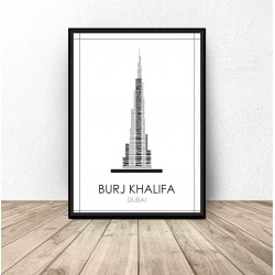 "Czarno-biały plakat Dubaju ""Burj Khalifa"""