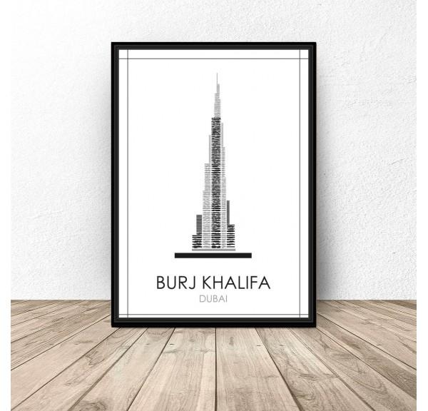 Czarno-biały plakat Dubaju Burj Khalifa