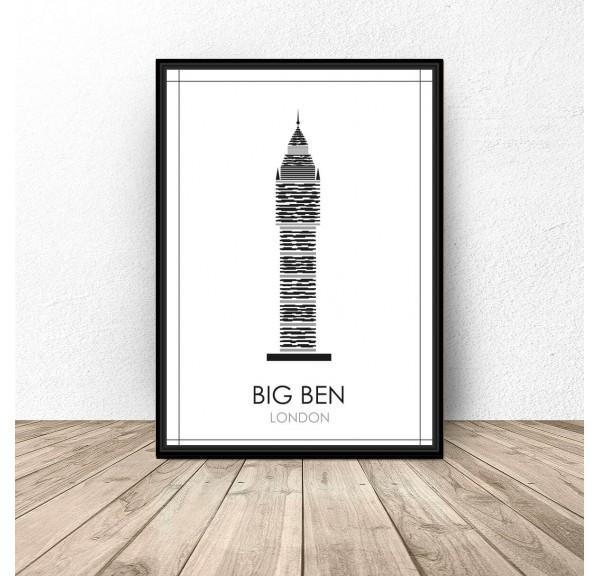 Czarno-biały plakat Londynu Big Ben