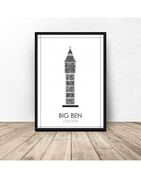 """Czarno-biały plakat Londynu """"Big Ben"""""""