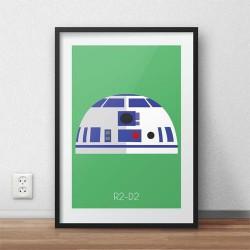 Kolorowy plakat na ścianę z wizerunkiem R2-D2 dla dzieci i fanów filmu Star Wars
