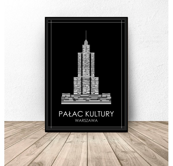 Black poster of Warsaw Palace of Culture