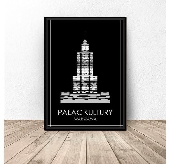 Czarny plakat Warszawy Pałac Kultury