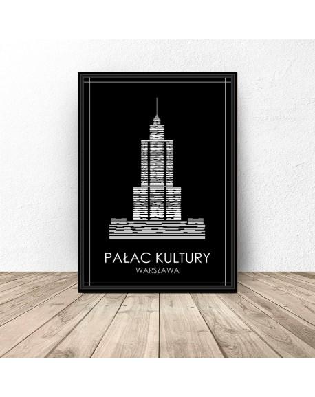 """Czarny plakat Warszawy """"Pałac Kultury"""""""