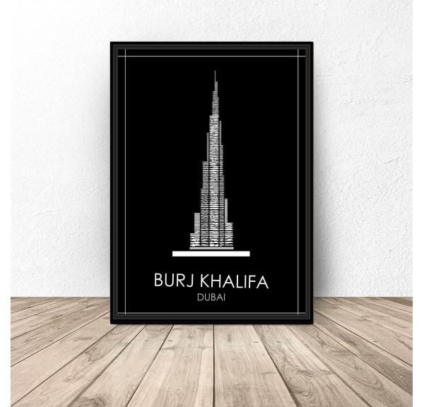 Czarny plakat Dubaju Burj Khalifa