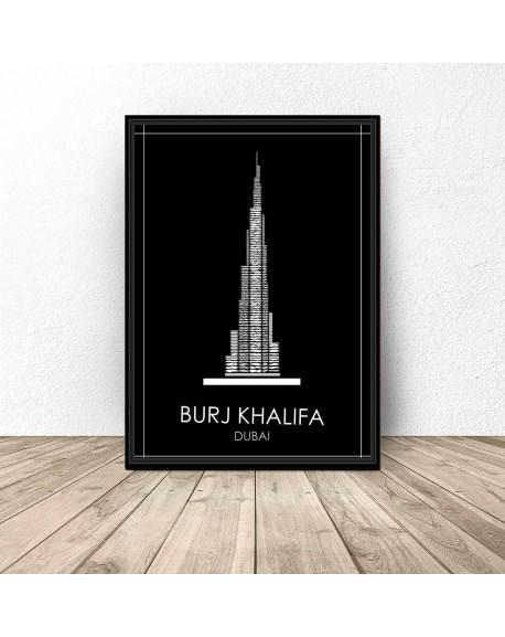 """Czarny plakat Dubaju """"Burj Khalifa"""""""