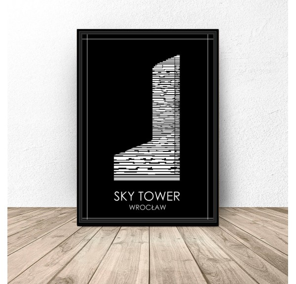 Black poster of Wroclaw Sky Tower