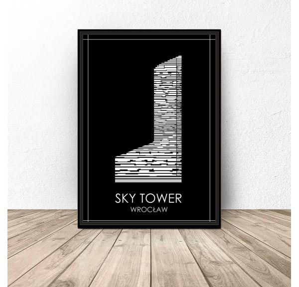 Czarny plakat Wrocławia Sky Tower
