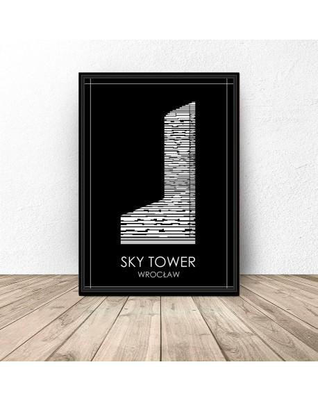 """Czarny plakat Wrocławia """"Sky Tower"""""""