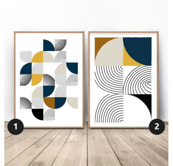 Set of geometric posters Patchwork