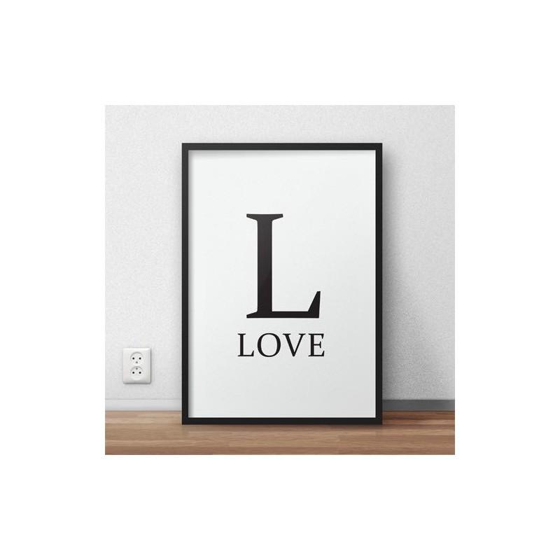 Minimalistyczny plakat typograficzny z dużą literą L i napisem LOVE