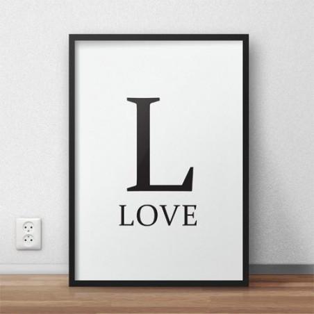 """Plakat z napisem """"L - LOVE"""""""