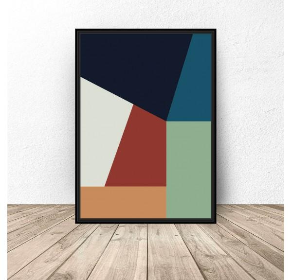 Plakat abstrakcyjny Prostokątna geometria