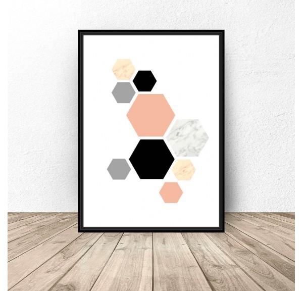 Plakat Różowe hexagony