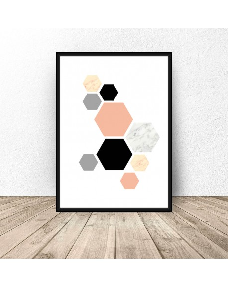 "Plakat ""Różowe hexagony"""