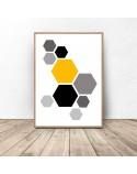 Geometric poster Yellow hexagony