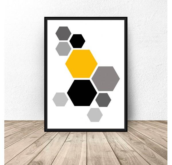 Plakat geometryczny Żółte hexagony